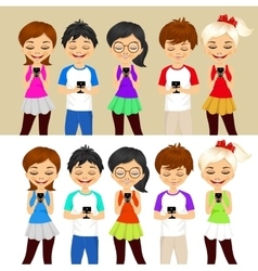 young people using mobile phones vector image