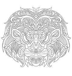 Zentangle stylized cartoon lion mask vector image