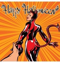 Happy halloween devil girl follow me vector