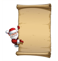 Happy santa scroll empty label presenting vector