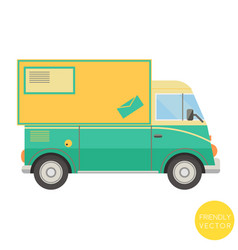 cartoon transport postal truck vector image