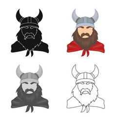 Viking icon in cartoon style isolated on white vector