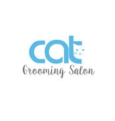 Cat grooming salon logo blue template vector