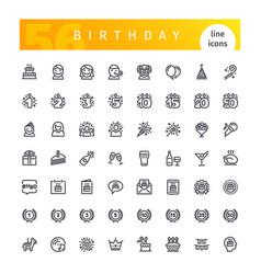 Birthday line icons set vector