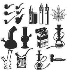 set of smoking equipment bongs vapes smoking vector image