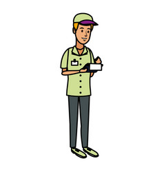 Delivery man with clipboard and pen writing vector