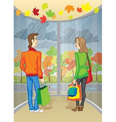 Meeting at the mall vector image
