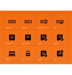 Password icons on orange background vector image