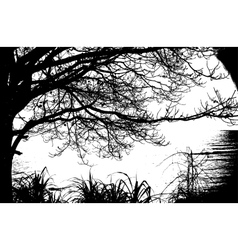Alone tree silhouette vintage and sea vector