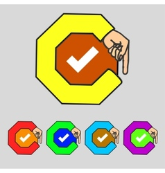 Check mark sign icon checkbox button set colourful vector