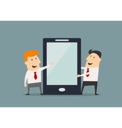 Cartoon businessmen with huge smartphone in flat vector