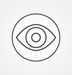 Eye outline symbol dark on white background logo vector