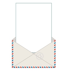 Open blank airmail envelope with rubber stamp vector