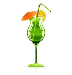 Tropical cocktail in glass vector