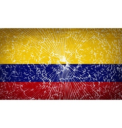 Flags colombia with broken glass texture vector