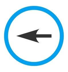 Sharp left arrow flat blue and gray colors rounded vector