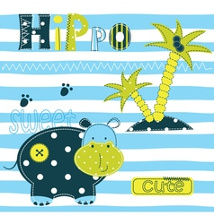 Background with cute hippo vector