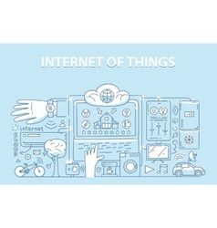Line style design concept of internet of things vector
