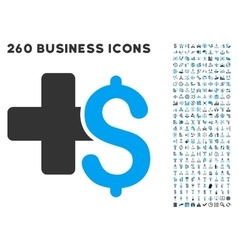 Medical Business Icon with Flat Set vector image