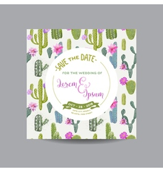 Tropical Cactus Wedding Card Invitation Card vector image