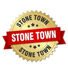Stone town round golden badge with red ribbon vector