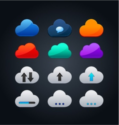 set of cloud icon computing concept design vector image
