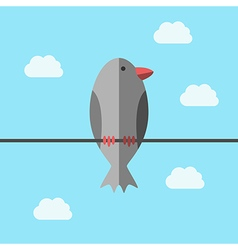 Bird perching on wire vector