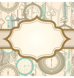 Invitation card with retro frame and clock pattern vector