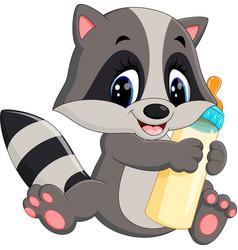baby raccoon cartoon vector image