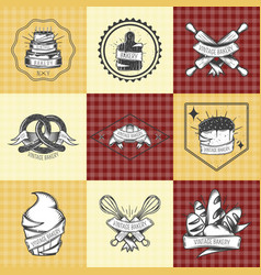 Bakery vintage compositions set vector