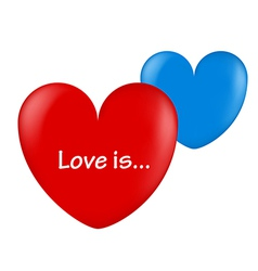 ballon hearts red and blue love is vector image vector image