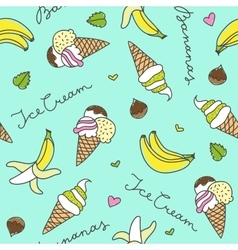 bananas and ice cream cones vector image
