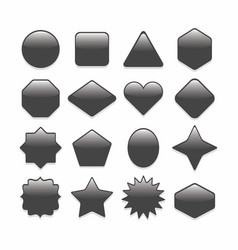 basic black geometrical shape web buttons set vector image vector image