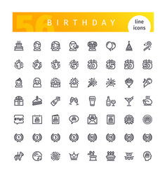 birthday line icons set vector image vector image