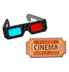 Blue-red stereoscopic 3d glasses and cinema vector