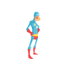 Cheerful grandfather dressed in blue superhero vector