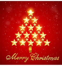 Christmas tree of gold shining stars vector image vector image
