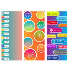 colorful website web e-shop buttons design vector image vector image