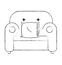 comfortable sofa with pillow vector image