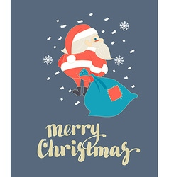 Cute Santa Claus walking with Christmas sack in vector image vector image