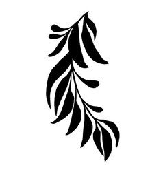 Decorative silhouette branch with leaves vector