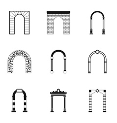 Different arches icons set simple style vector