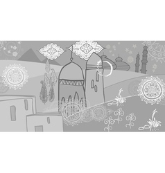 Drawing abstraction in oriental style arabic city vector image vector image