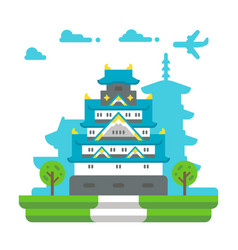 Flat design osaka castle vector