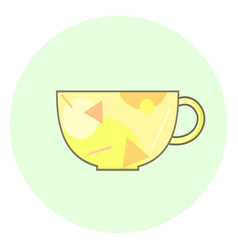 flat yellow cup icon tea cup vector image