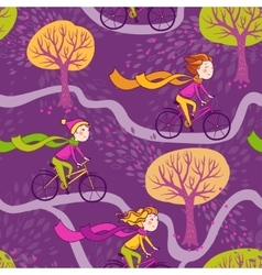 Girl rides a bicycle to school vector
