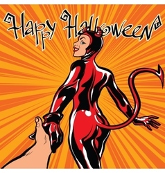 Happy Halloween devil girl follow me vector image