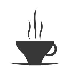 Hot coffee cup icon silhouette vector image