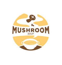 Hot mushroom soup logo with smoke vector