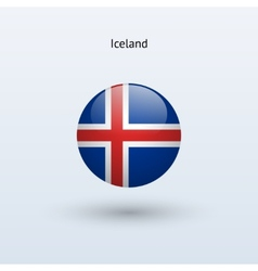 Iceland round flag vector